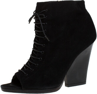 Burberry Black Suede Peep Toe Lace Up Booties Size 39