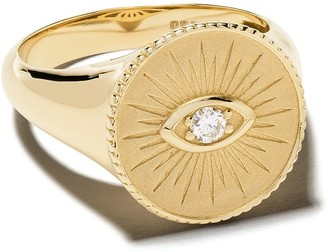 Sydney Evan 14kt Yellow Gold Round Diamond Coin Ring