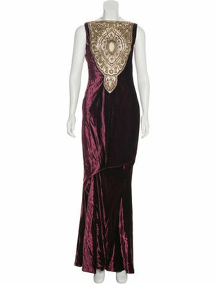 Reem Acra Silk-Blend Sleeveless Gown
