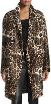 Diane von Furstenberg Finola Two Calf Hair Coat, Snow Cheetah Simple