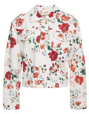 Maje Viflor Floral-print Denim Jacket