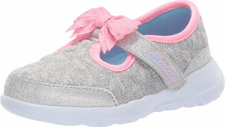 Skechers Girl's Gowalk Joy Doting Dot - Infant & Toddler Grey Pink 4 M
