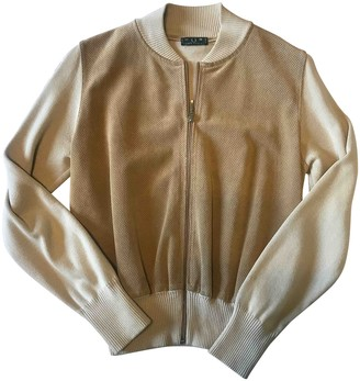 Fred Perry Beige Suede Leather Jacket for Women