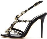 Oscar de la Renta Crystal-Detailed Satin Imogene Sandals