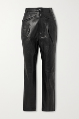 IRO Heim Pleated Leather Straight-leg Pants - Black