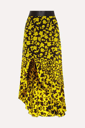 Alice + Olivia Sueann Asymmetric Tiered Floral-print Satin-trimmed Silk Crepe De Chine Skirt - Yellow