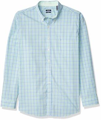 Izod Men's Big & Tall Fit Button Down Long Sleeve Stretch Performance Plaid Shirt