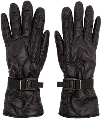 TAKAHIROMIYASHITA TheSoloist. Black Taffeta Zip Gloves