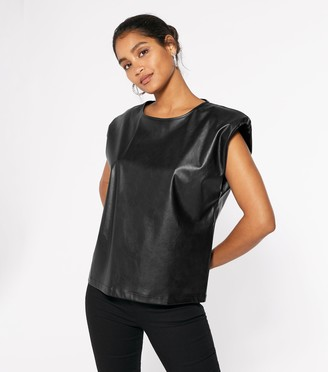 New Look Cameo Rose Leather-Look Shoulder Pad Top