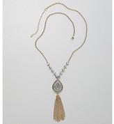 Relativity Hematite/Goldtone Druzie Teardrop Tassel Necklace