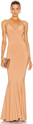 Norma Kamali Racer Fishtail Gown in Nude & Nude Mesh | FWRD