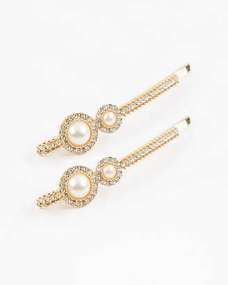 Le Château Set of Two Gem & Pearl-like Bobby Pins
