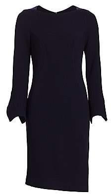 Teri Jon by Rickie Freeman Women's Bell Sleeve Pearl Button Sheath Dress