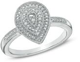 Zales Diamond Accent Beaded Teardrop Ring in Sterling Silver