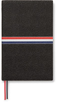 Thom Browne Large Striped Pebble-grain Leather Notebook - Black