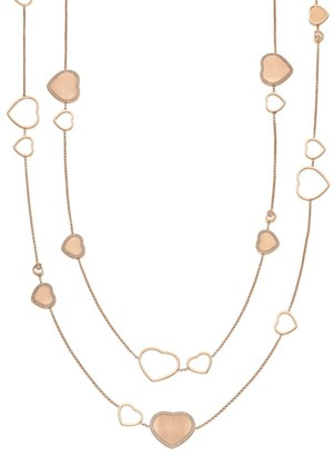 Chopard x 007 Happy Hearts - Golden Hearts 18K Rose Gold & Diamond Pave Limited Edition 2-Strand Station Necklace