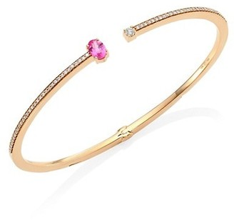 Hueb Spectrum Diamond, Pink Sapphire & 18K Yellow Gold Bangle