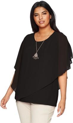Amy Byer Women's Plus-Size Split Sleeve Popover Top