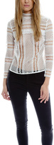 Self-Portrait Contrast Lace Paneled Top