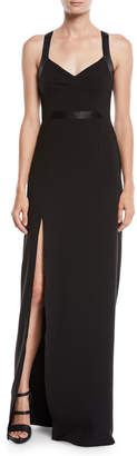 Halston Crepe V-Neck Gown w/ Satin Contrast
