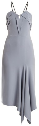 Roland Mouret Fazeley V-neck Sleeveless Crepe Midi Dress - Womens - Light Blue