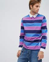 Asos Long Sleeve Rugby Polo With Block Stripe In Heavyweight Jersey