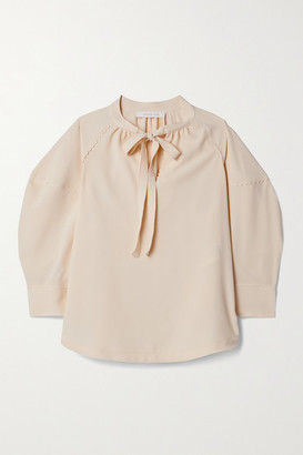 See by Chloe Tie-neck Crepe Blouse - Cream