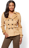 New York & Co. Short Faux-Suede Trench Coat - Camel