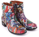 Red & Blue Butterfly Side-Zip Leather Boot