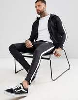 Gym King Skinny Poly Joggers In Black With Side Stripe