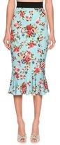 Dolce & Gabbana Floral Flounce-Hem Skirt, Blue/Multi