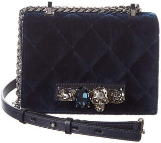 Alexander McQueen Jeweled Small Quilted Velvet & Leather Shoulder Bag