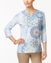Alfred Dunner Blue Lagoon Floral-Print Beaded Top