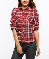 Wine & Cream Plaid Roll Tab-Sleeve Button-Front Top