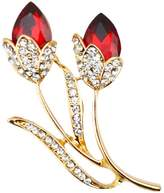 Zrong Women's Red Flower Brooch Crystal Rhinstones Pin for Ladies Girls