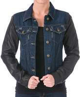 Laundry by Shelli Segal Womens Faux Leather Sleeves Denim Jacket S