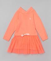 U.S. Polo Assn. Neon Orange Cowl Neck Dress - Girls