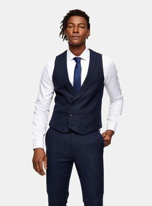 TopmanTopman HERITAGE Blue Herringbone Double Breasted Skinny Fit Suit Waistcoat