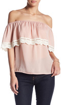 Flying Tomato Off-The-Shoulder Lace Trim Blouse