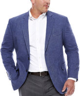 STAFFORD Stafford Linen Cotton Blue Herringbone Sport Coat- Big and Tall
