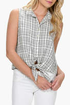 Everly Plaid Front-Tie Top
