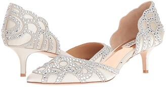 Badgley Mischka Ginny (Ivory Satin/Suede) Women's 1-2 inch heel Shoes