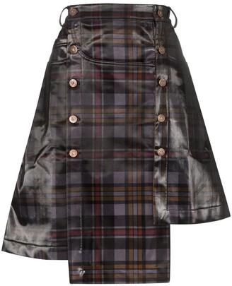 Delada Asymmetric Checked Skirt