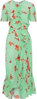 Preen Line Serelida Asymmetric Shirred Floral-print Crepe De Chine Midi Dress