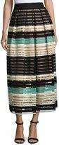 Lela Rose Striped Crochet A-Line Midi Skirt, Mint/Multi