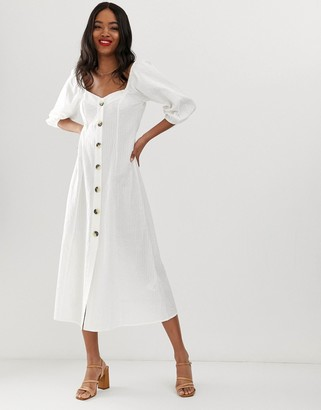 ASOS DESIGN button through maxi dress in seersucker