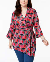 NY Collection Plus Size Asymmetrical Surplice Top
