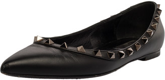 Valentino Black Leather Rockstud Pointed Toe Ballet Flats Size 37