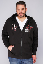 Yours Clothing LOYALTY & FAITH Black Zip- Up Hoodie