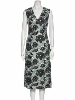 Brock Collection Floral Print Midi Length Dress w/ Tags Silver